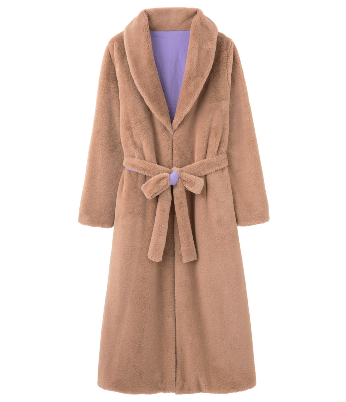 Reversible eco fur coat gown