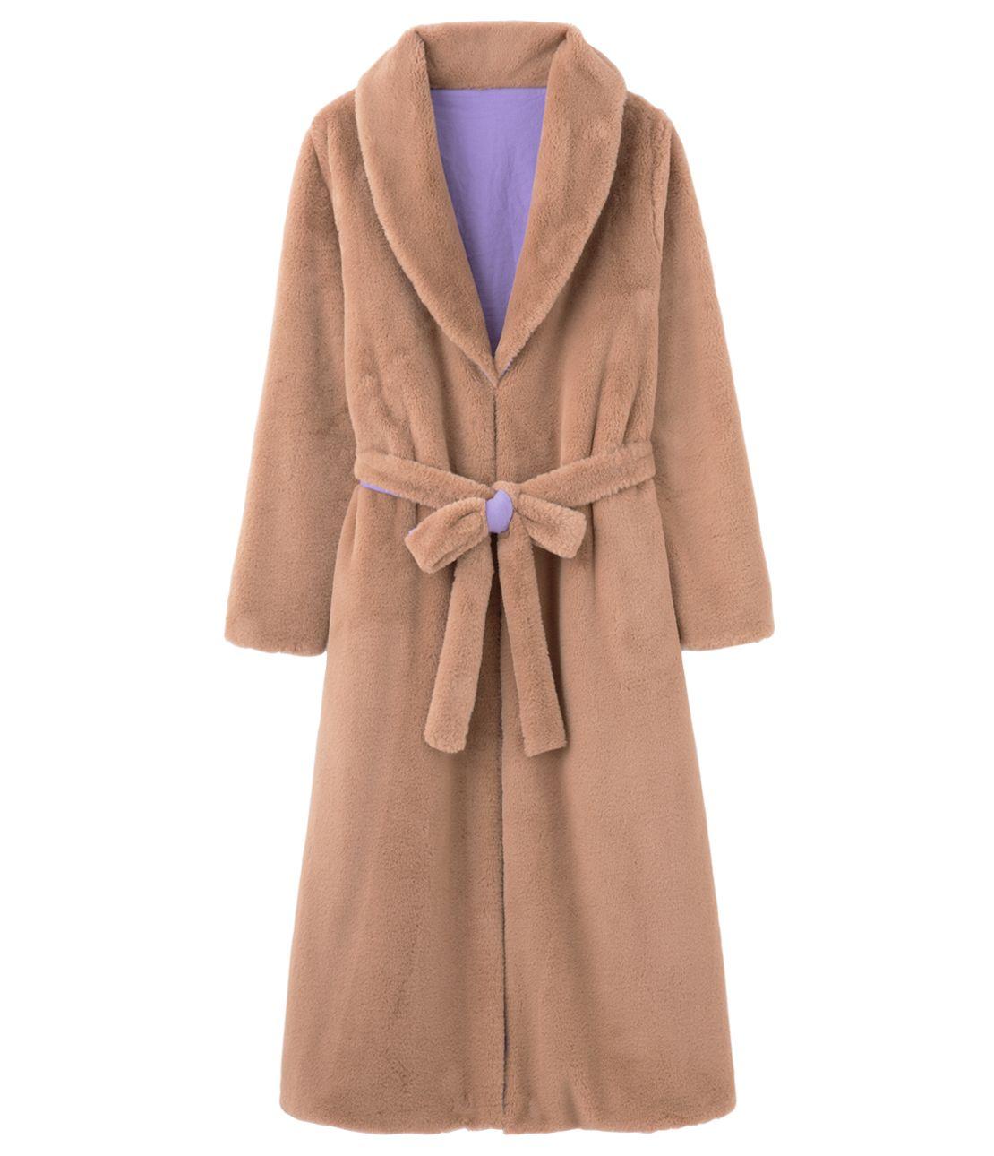 可逆的生态皮草大衣长袍