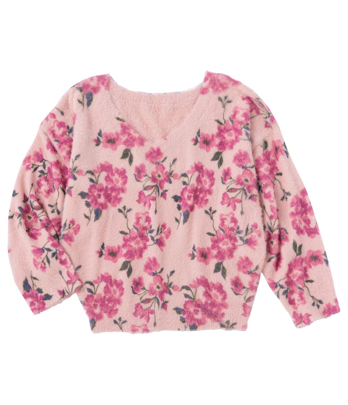 Brushed flower print knit