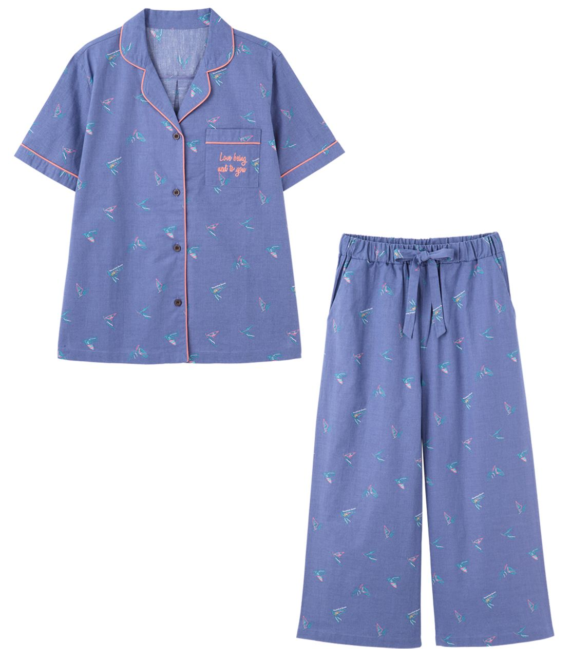 Cotton linen summer shirt pajamas