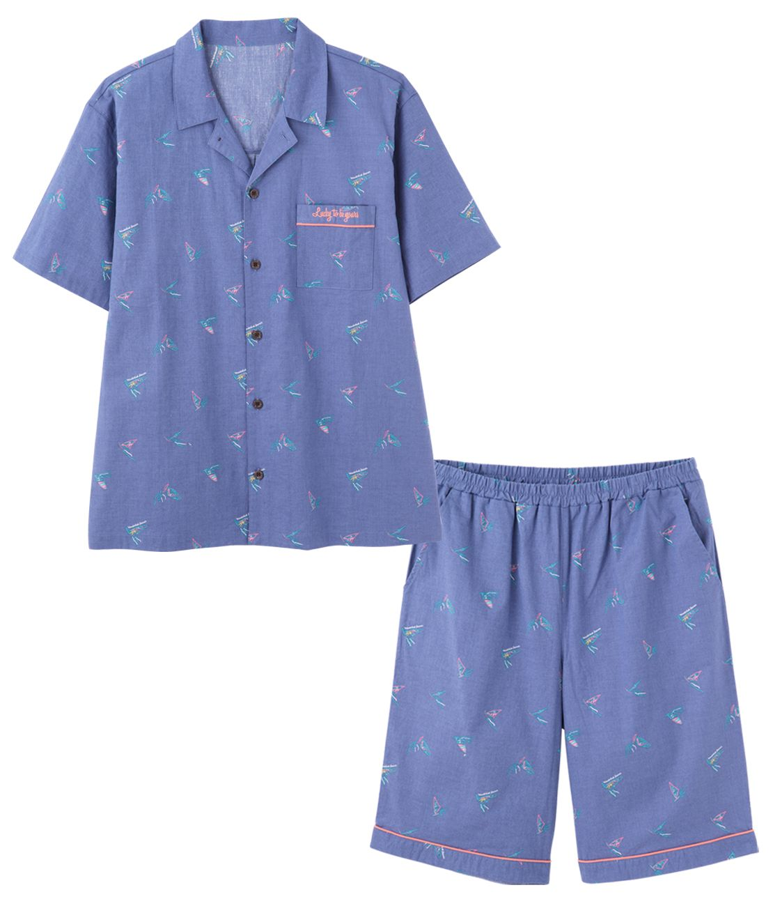Men's cotton linen summer shirt pajamas