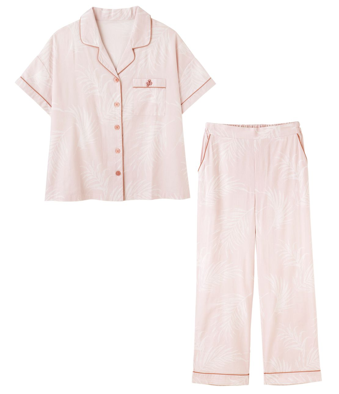 Cotton rayon linen short-sleeved shirt pajamas