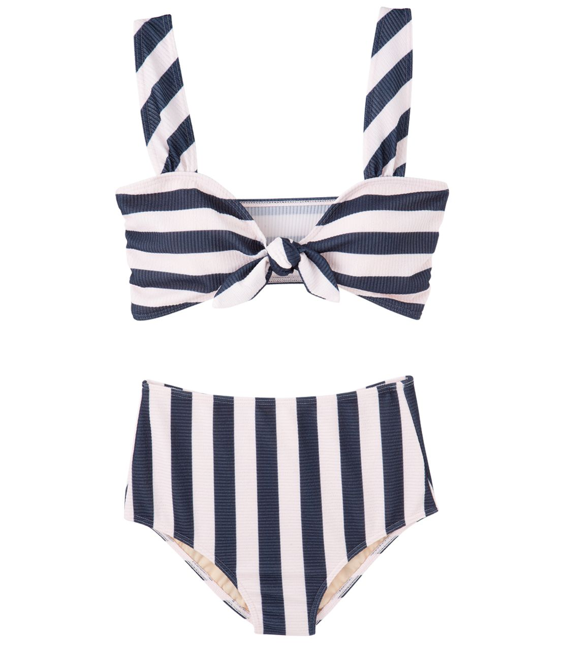 Stripe front ribbon high-waisted bikini
