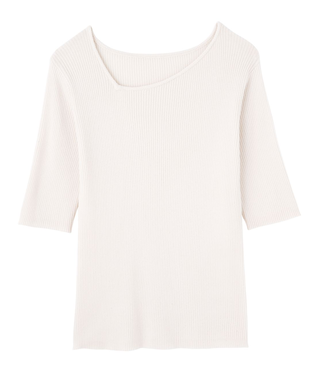 Asymmetric neck wide rib knit