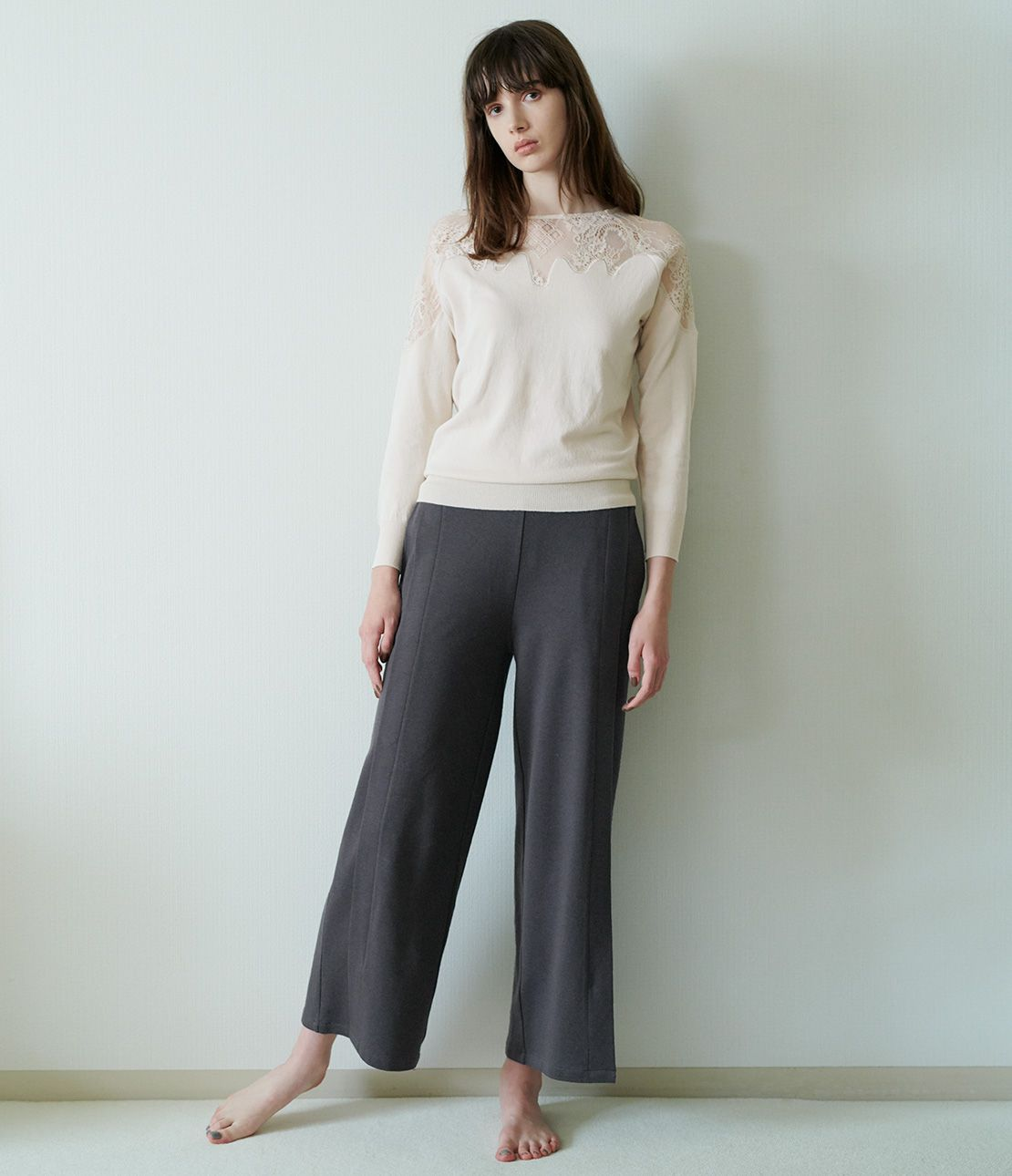 Tuck wide jersey pants