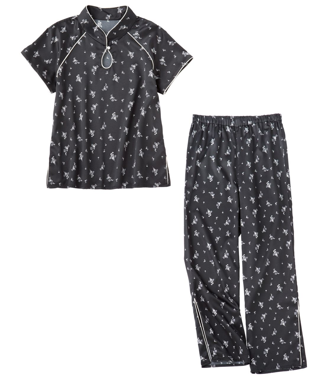 Satin stand-up collar pajamas
